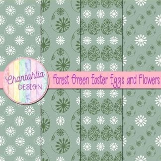 Free forest green digital papers featuring flowers in Easter eggs