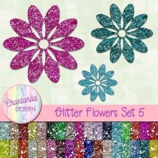free glitter flowers design elements