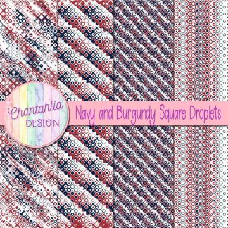 Free navy and burgundy square droplets digital papers