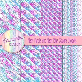 Free neon purple and neon blue square droplets digital papers