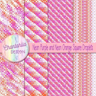 Free neon purple and neon orange square droplets digital papers