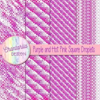 Free purple and hot pink square droplets digital papers