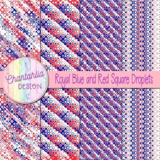 Free royal blue and red square droplets digital papers