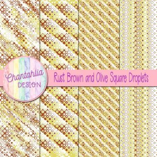 Free rust brown and olive square droplets digital papers