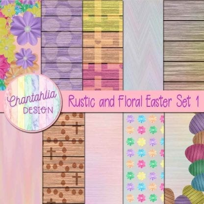 Free digital papers in a Rustic and Floral Easter theme