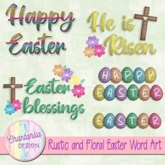Free word art in a Rustic and Floral Easter theme
