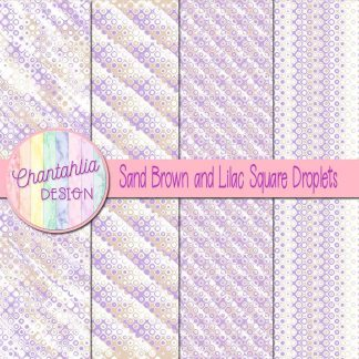 Free sand brown and lilac square droplets digital papers