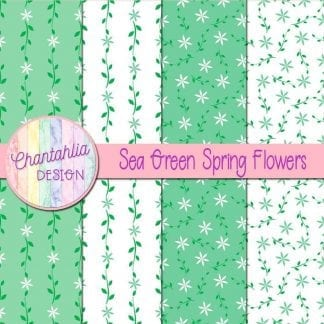 Free digital paper with sea green spring flower designs