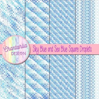 Free sky blue and sea blue square droplets digital papers