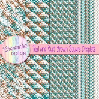 Free teal and rust brown square droplets digital papers