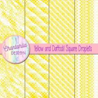 Free yellow and daffodil square droplets digital papers