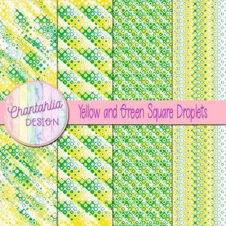 Free yellow and green square droplets digital papers