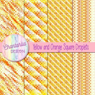 Free yellow and orange square droplets digital papers