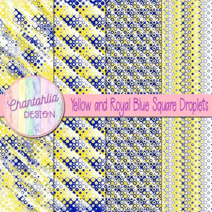 Free yellow and royal blue square droplets digital papers
