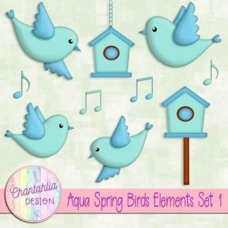 Free aqua spring birds design elements