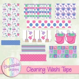 Free washi tape in a Cleaning theme.
