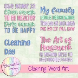 Free word art in a Cleaning theme.