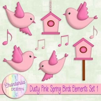 Free dusty pink spring birds design elements