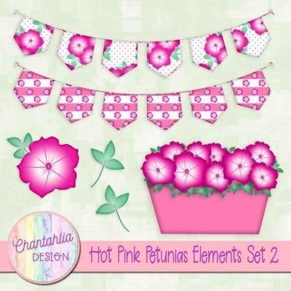 Free hot pink petunias deign elements