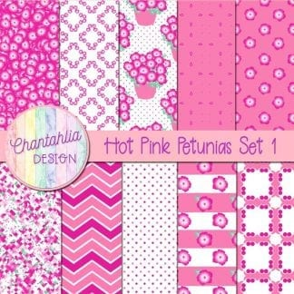 free hot pink petunias digital papers