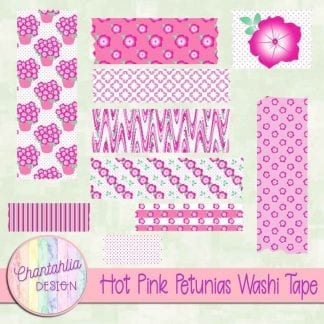 Free hot pink petunias washi tape
