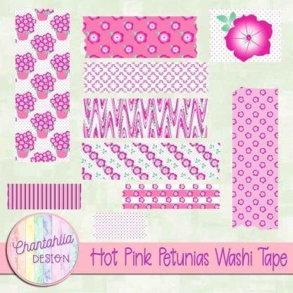 Free hot pink petunias washi tape