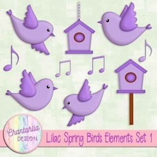 Free lilac spring birds design elements