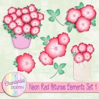 Free neon red petunias design elements