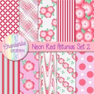 Free neon red petunias digital papers