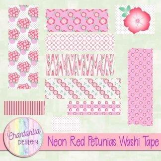 Free neon red petunias washi tape