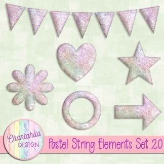 Free elements / embellishments in a pastel string design.