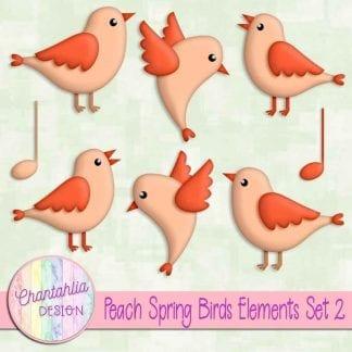 Free peach spring birds design elements