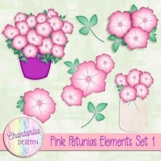 Free pink petunias design elements