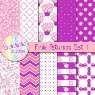 Free pink petunias digital papers