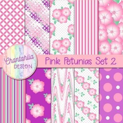 Free pink petunias digital papers