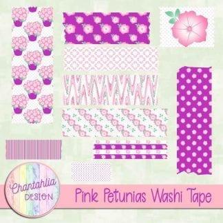 Free pink petunias washi tape
