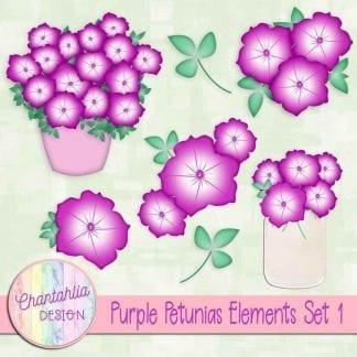 Free purple petunias design elements