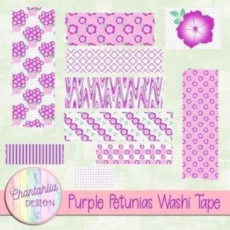 Free purple petunias washi tape