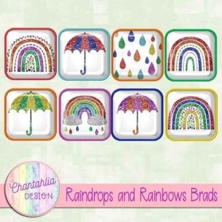 Free brads in a Raindrops and Rainbows theme