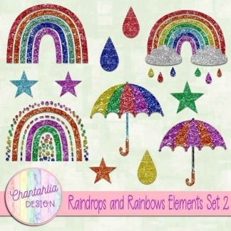 Free design elements in a Raindrops and Rainbows theme