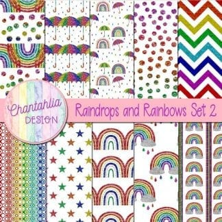 Free digital papers in a Raindrops and Rainbows theme