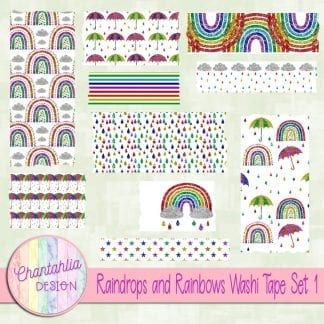 Free washi tape in a Raindrops and Rainbows theme