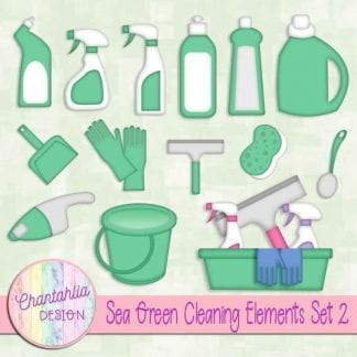 Free sea green design elements in a Cleaning theme.