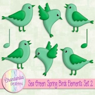 Free sea green spring birds design elements