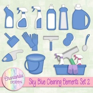 Free sky blue design elements in a Cleaning theme