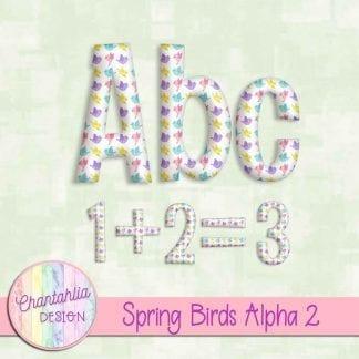 Free alpha in a Spring Birds theme.