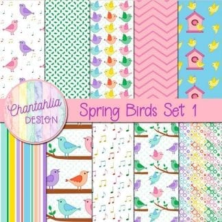 Free digital papers in a Spring Birds theme