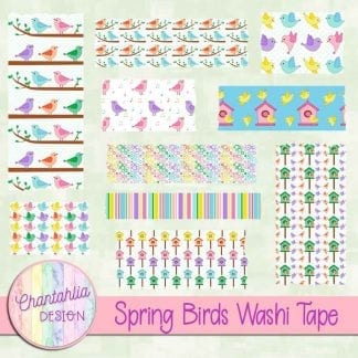 Free washi tape in a Spring Birds theme
