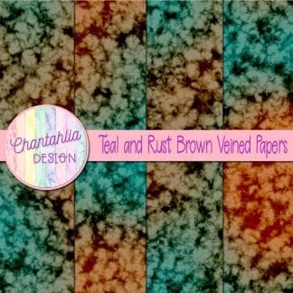 free teal and rust brown veined papers