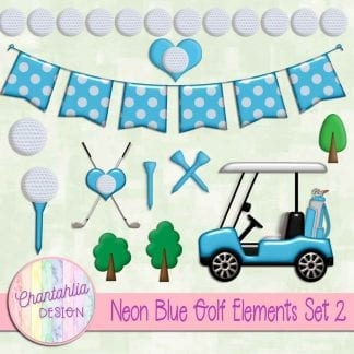 Free design elements in a Neon Blue Golf theme